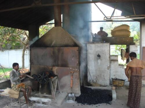 Drum roasting process during processing